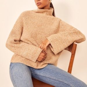 NEW Reformation fern neck sweater camel small